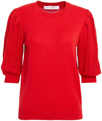 Carolina Herrera Paneled Pointelle-knit Silk And Cotton-blend Top