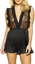 Cassandra Louisa Ruffled Satin & Lace Romper