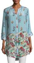 Tolani Chloe Striped Floral Button-Front Shirt, Plus Size