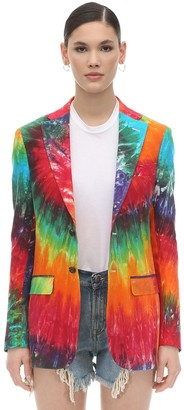 R 13 Rainbow Tie Dyed Linen Jacket