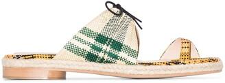 Rosie Assoulin Check-Pattern Slip-On Sandals