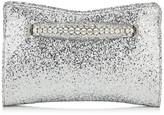 Jimmy Choo VENUS Silver Galactica Glitter Fabric Clutch Bag