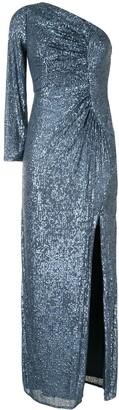 Aidan Mattox Sequin One-Shoulder Ruched Gown