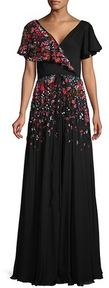 Carolina Herrera Flutter-Sleeve Embroidered Gown