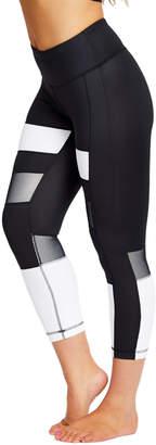 90 Degree By Reflex Women's Leggings WHTBK - White & Black Color Block Mesh-Panel Capri Leggings - Women