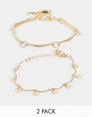 Asos Design DESIGN pack of 2 bracelets in disc and bar toggle design in gold tone