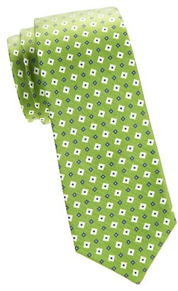 Kiton Geometric Silk Linen Tie