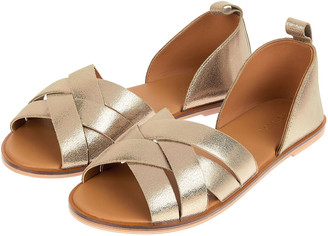Monsoon Cross-Over Leather Sandals Gold