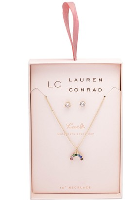 Lauren Conrad Gold Tone Simulated Crystal Nickel Free Necklace & Earring Set