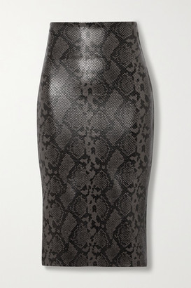 Commando Stretch Faux Snake-effect Leather Skirt - Snake print