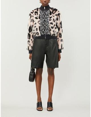 Stella McCartney Leopard-print faux-fur panel knitted jacket