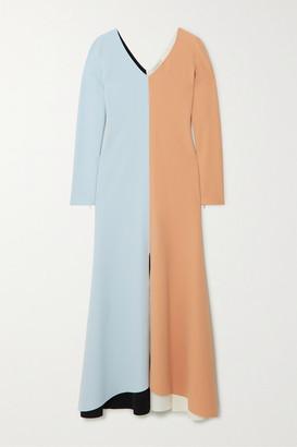 A.W.A.K.E. Mode Color-block Crepe Maxi Dress - Peach