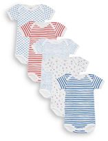 Petit Bateau Baby's Five-Piece Striped & Mixed-Print Bodysuits Set