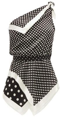 Altuzarra Luff One-shoulder Polka-dot Silk Top - Black White