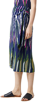 Warehouse Rainbow Ikat Tie Front Skirt, Navy
