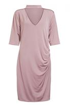 Quiz Curve Blush Pink Choker Neck Ruched Midi Dress