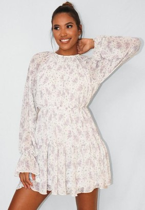 Missguided Cream Floral Print Frill Hem Skater Dress