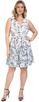 Sangria Plus Size V-Neck Floral Print Pleated Skirt Fit & Flare Dress