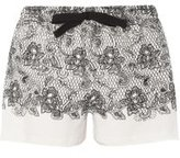 Dorothy Perkins Womens Lace Print Mix And Match Pyjama Shorts- White