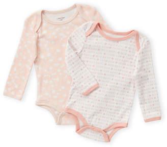 Calvin Klein Newborn Girls) Two-Piece Long Sleeve Bodysuit Set