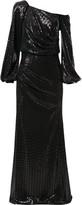 Badgley Mischka asymmetric sleeve sequin gown