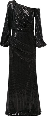 Badgley Mischka Asymmetric Sleeve Sequin Gown