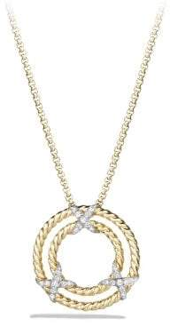 David Yurman X Circle Pendant Necklace With Diamonds In 18K Gold