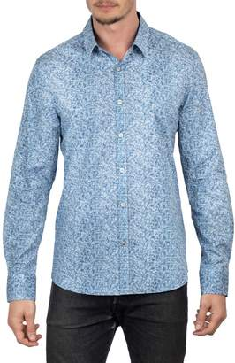English Laundry Big Tall Faded Floral-Print Long Sleeve Button-Down Shirt