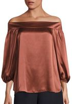 Tibi Silk Asymmetric Off-The-Shoulder Top