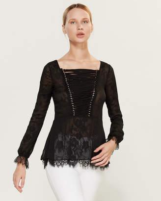 The Kooples Black Lace Underlay Peplum Blouse