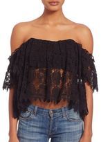 Tularosa Amelia Lace Off-The-Shoulder Cropped Top