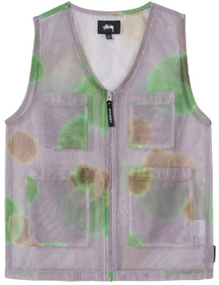 Stussy Grey Multi Coloured Mesh Layer Womens Vest Jacket - xs