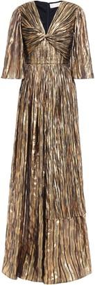Peter Pilotto Twisted Metallic Striped Silk-blend Chiffon Gown