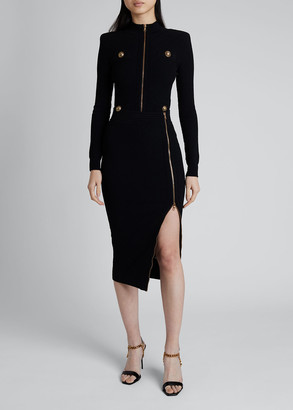Balmain Diamond-Knit Midi Skirt