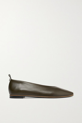 Bottega Veneta Leather Ballet Flats - Army green