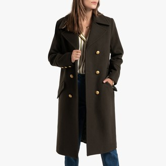 La Redoute Collections Long Pea Coat in Wool Mix with Pockets and Double-Breasted Buttons