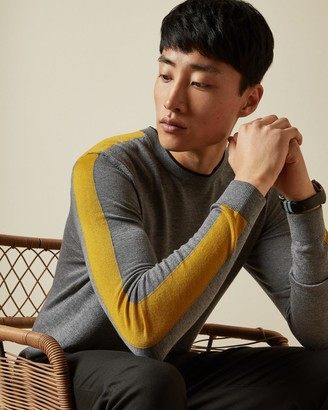 Ted Baker Crew Neck Striped Sleeve Jumper