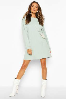 boohoo Crew Neck Panel And Pocket Front Dress