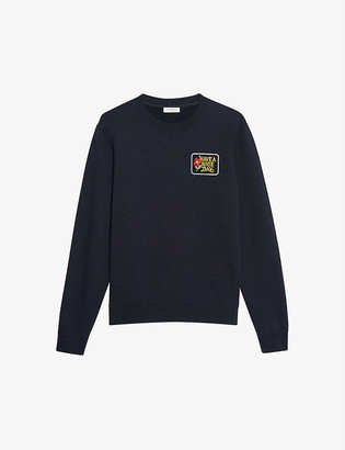 Sandro Have a Nice Day-patch cotton-jersey sweatshirt