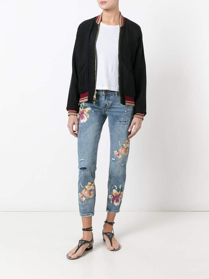 One Teaspoon orchid print distressed cropped jeans