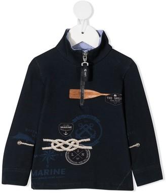Lapin House Seafarer-Print Zip-Up Sweatshirt