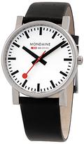 Mondaine A6603034411sbb Unisex Leather Strap Watch, Black/white
