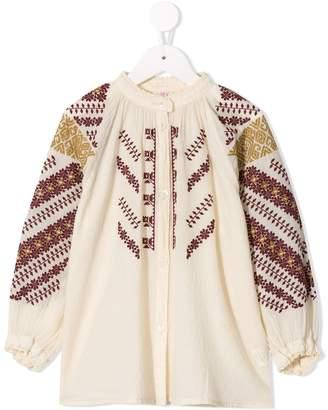Denim Dungaree embroidered tunic shirt