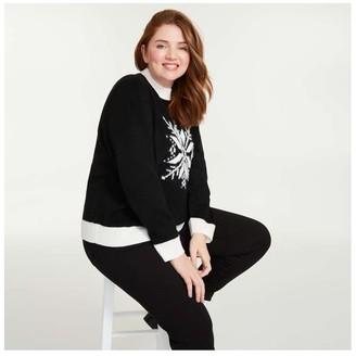 Joe Fresh Women+ Snowflake Sweater, Black (Size 1X)