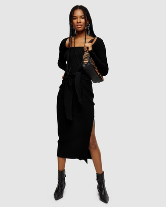 Topshop Ribbed Square Neck Belted Midi Dress