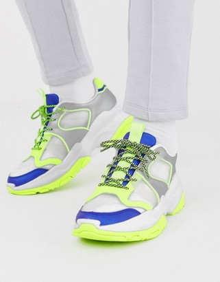 Asos Design DESIGN trainers in colour pop with chunky sole-White