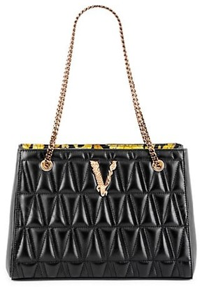 Versace Small Virtus Quilted Leather Tote