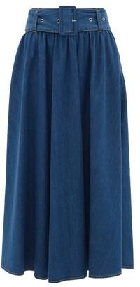 MSGM High-rise Denim Midi Skirt - Womens - Denim