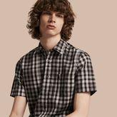 Burberry Short-sleeved Gingham Cotton Shirt