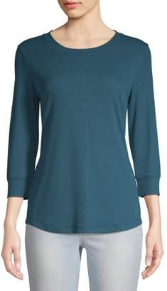 Time and Tru Women's 3/4 Rib Sleeve T-Shirt